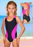 Dívčí plavky jednodílné dvoubarevné