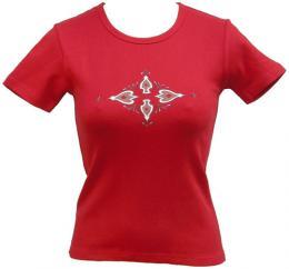 Dámské  èervené streèové trièko s potiskem Ornament