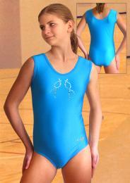 Gymnastický dres závodní s ozdobou z lesklých kamínků - zvětšit obrázek