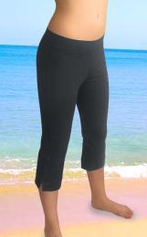 Elastické kalhoty zvonové pod kolena s manžetou šedé - XL